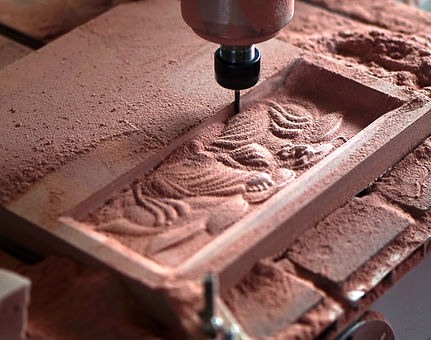 View of wood engraving with CNC machine