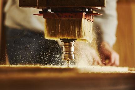 Cnc machine working, cutting wood. Woodw
