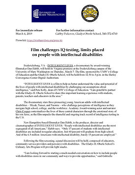 INTELLIGENT LIVES MOVIE Press Release Co
