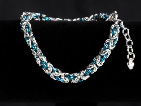 Teal and silver byzantine bracelet