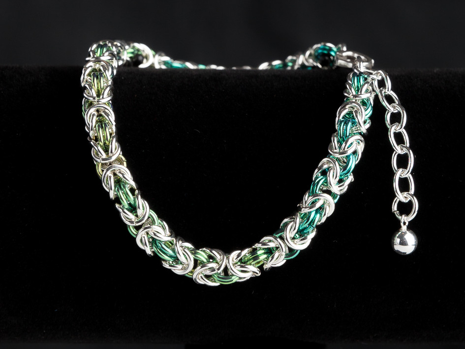Medium green, light green and silver byzantine bracelet