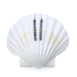 Sterling Silver Earrings - Long Wood Grain
