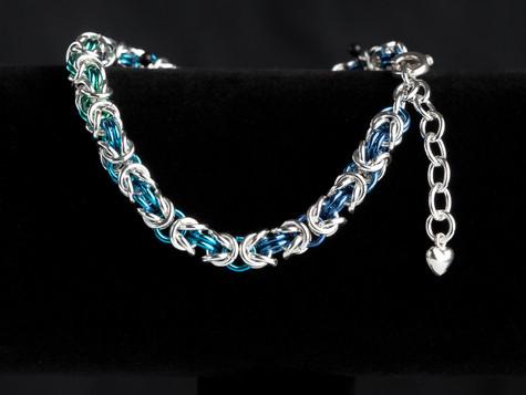 Blue, teal, green and silver byzantine bracelet