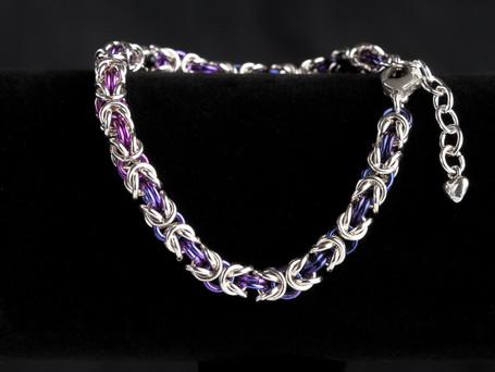 Blue, purple and silver byzantine bracelet