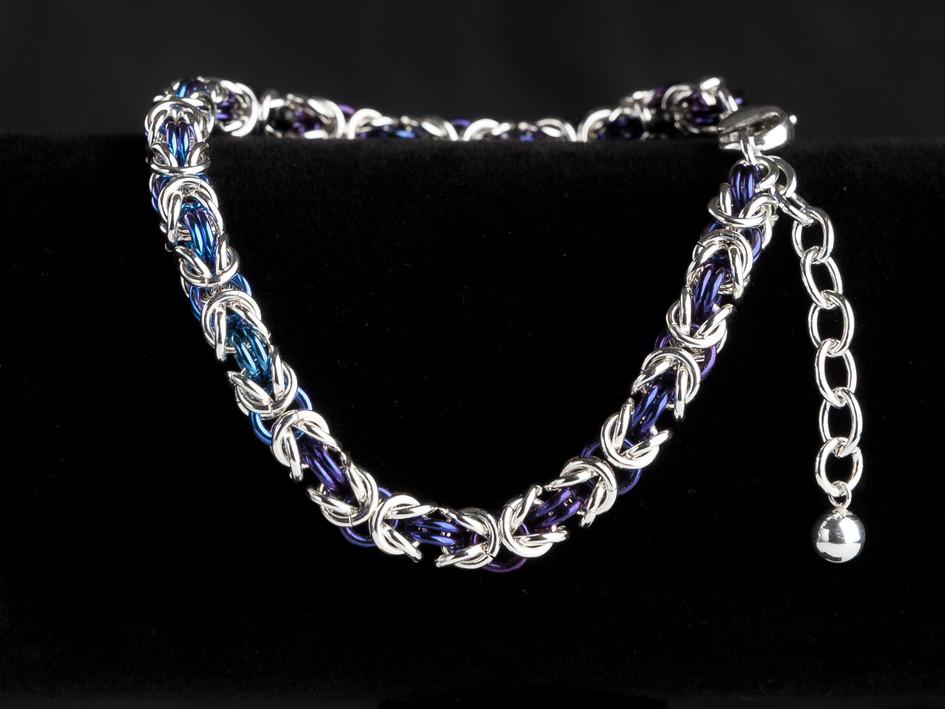 Midnight blue, medium blue and silver byzantine bracelet