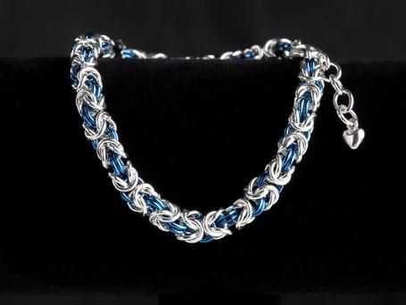 Blue and silver byzantine bracelet