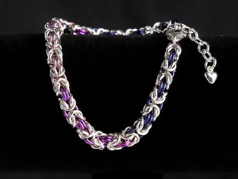 Purple, fuschia and silver byzantine bracelet