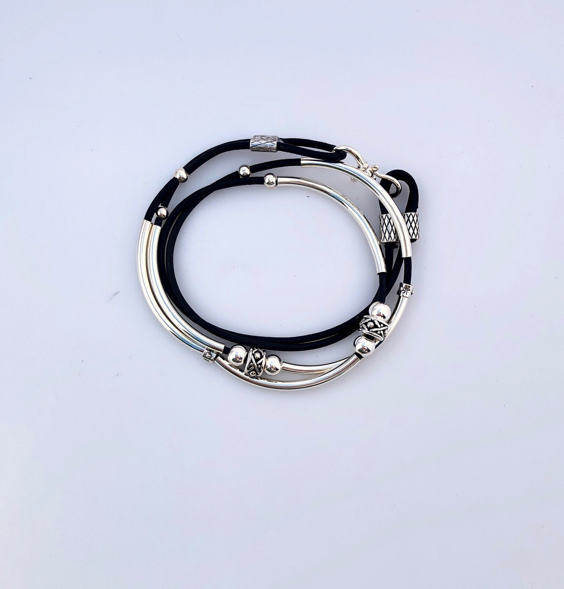 Leather and sterling silver wrap bracelet