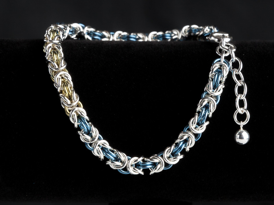Blue, yellow and silver byzantine bracelet
