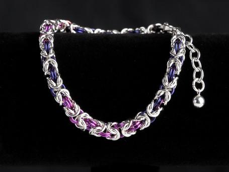 Midnight blue, fuschia and silver byzantine bracelet