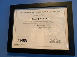 NRA Instructor Certificate