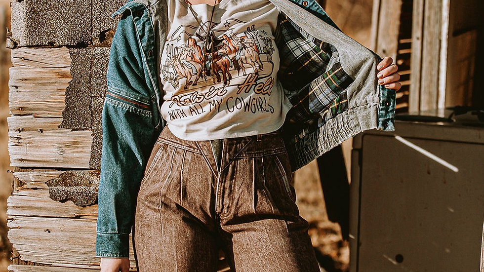 Raisin' Hell With All My Cowgirls Heather Dust Crop Top
