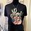 Thumbnail: Turquoise Bloom Black Crop Top