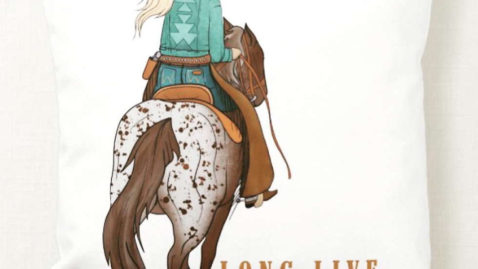Long Live Cowgirls Throw Pillow