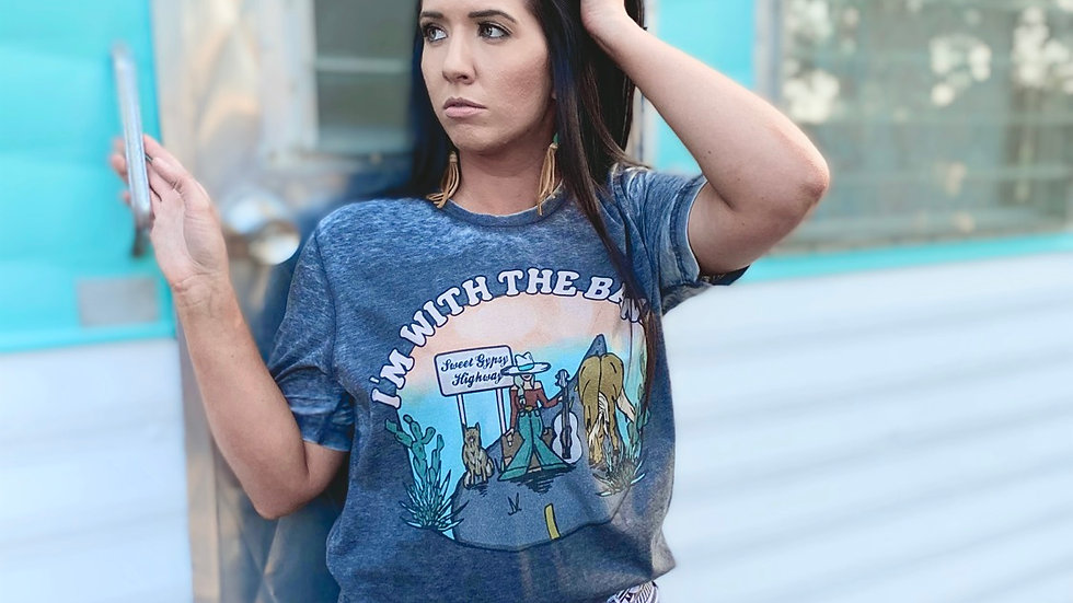 I'm With The Band Grey Acid Wash Distressed Tee