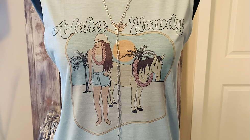 Aloha Howdy Dusty Blue Muscle Tank