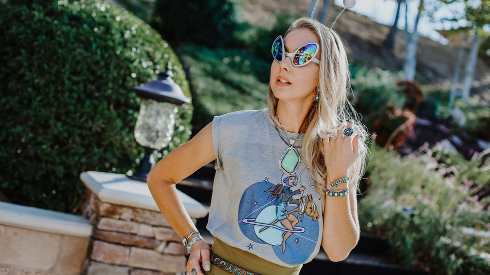 Cosmic Cowgirl Heather Stone Rolled Sleeve Tee (Pre Order)