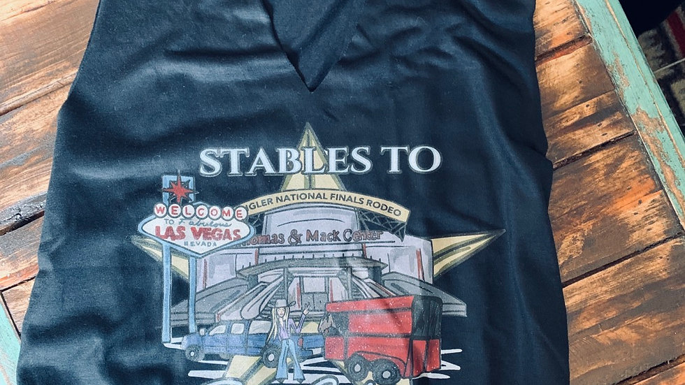 Stables To Sin City Cut Out Neck Adult Tee.