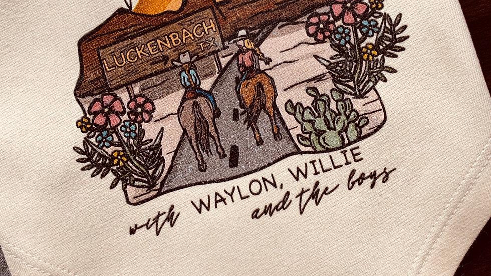 Waylon, Willie & The Boys Bandana Bib.