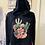 Thumbnail: Turquoise Bloom Black Cropped Hoodie