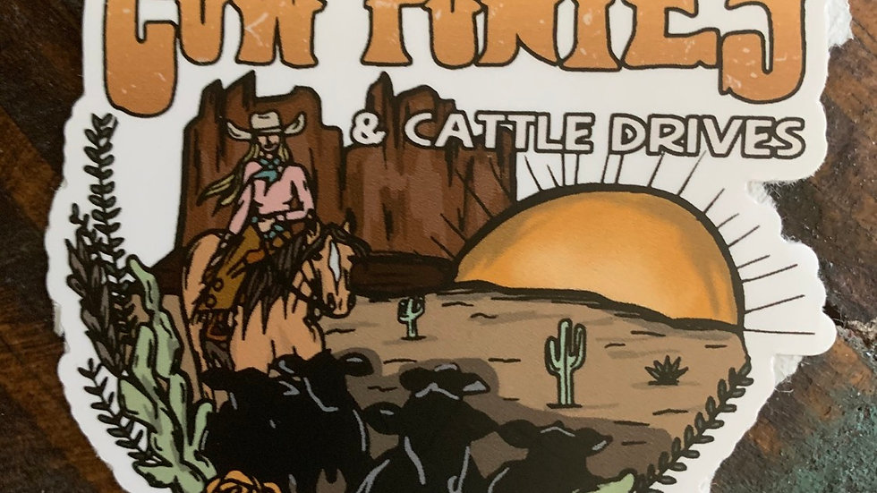 Cow Ponies & Cattle Drives Sticker.