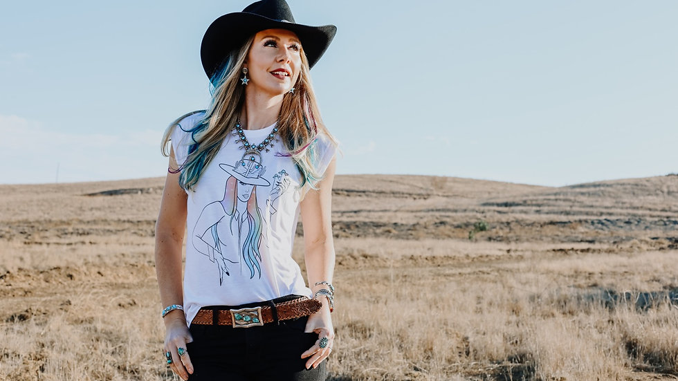 Space Cowgirl White Rolled Sleeve Tee