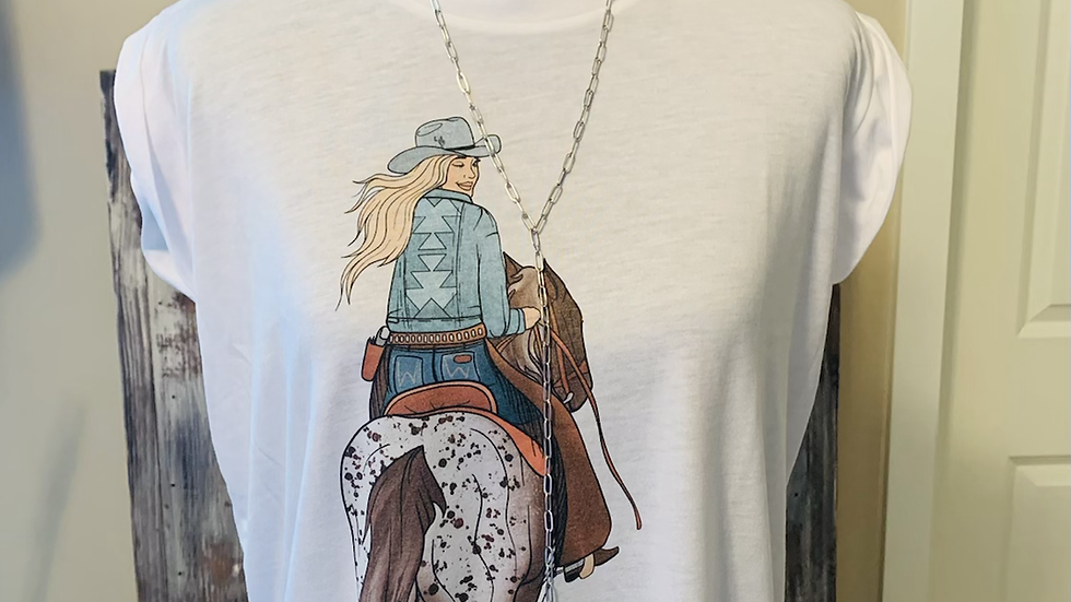 Long Live Cowgirls White Rolled Sleeve Tee