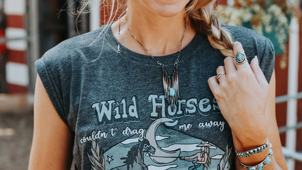 Wild Horses Couldn't Drag Me Away Adult Tee.
