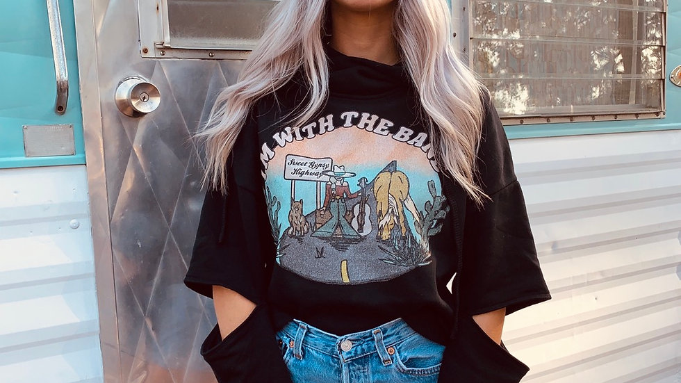 I'm With The Band Cut Out Sleeve Cropped Hoodie