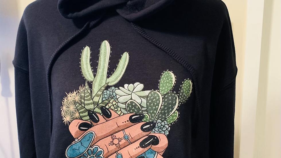 Turquoise Bloom Black Cropped Hoodie