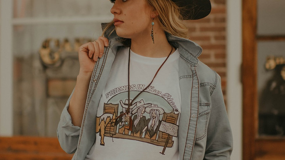 Friends In Low Places White Rolled Sleeve Tee