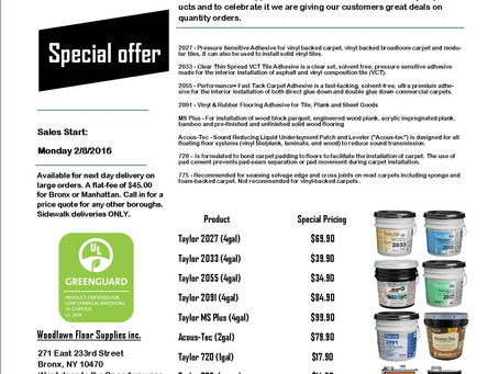 Special Pricing on Taylor Adhesives