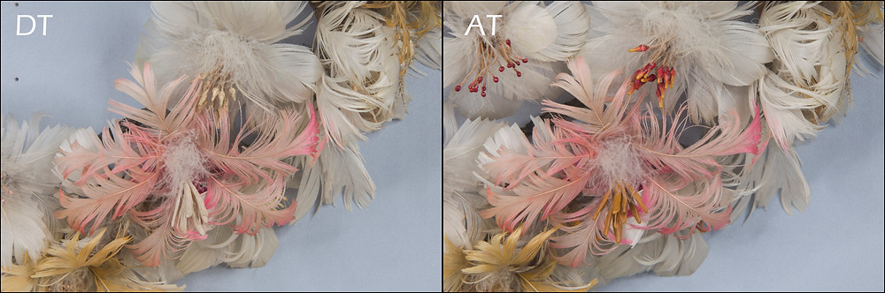 Damaged feather wreath conservation treatment