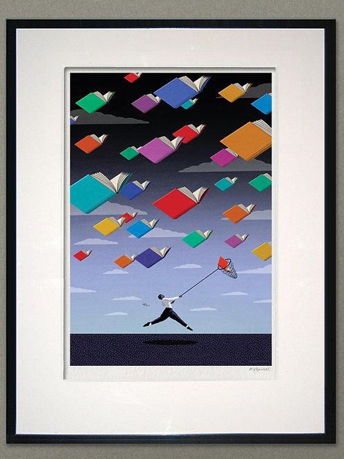 """Giclée print: """"Flying Books"""""""