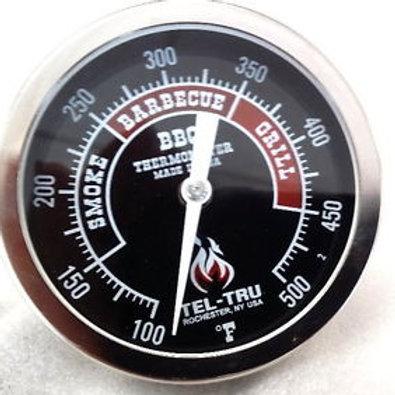 """Tel-Tru BQ300 BBQ Gauge 3"""" black dial 2.5"""" stem"""