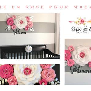 Maeva paper flowers pink white Mara Lial