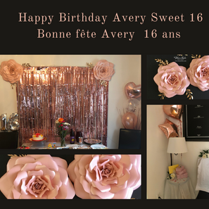 Sweet 16 Avery rosegold paper flowers  M