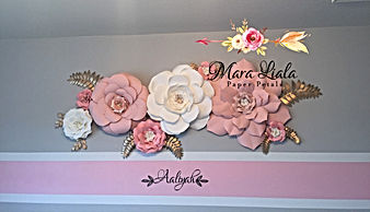Pink paper flowers with name Aaliyah.JPG