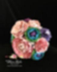 bouquet fleurs en papier rose mauve bleu