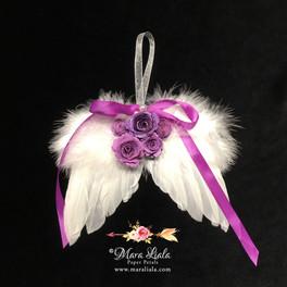 ornement plumes fleurs en papier mauve M