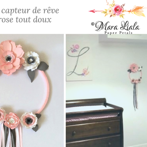 Pink paper flower dream catcher