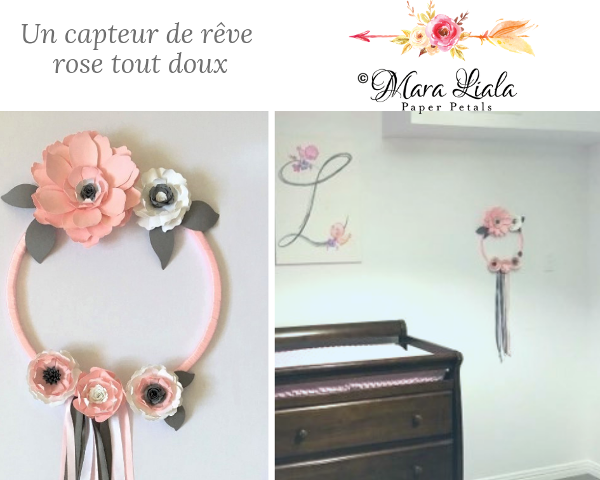 Pink paper flower dream catcher