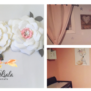 White paper flowers with a touch of pink