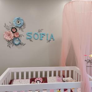 fleurs en papier rose blue Sofia Mara Li