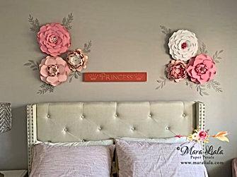 white pink blush grey leaves paper flowe