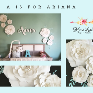 Ariana White and blue leaves paper flowe
