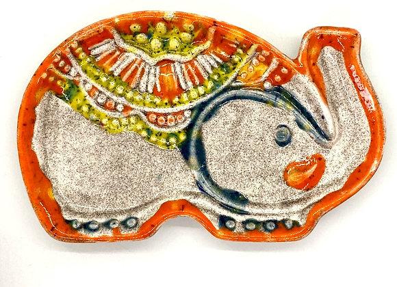 Elephant Plate Crystal Glazed