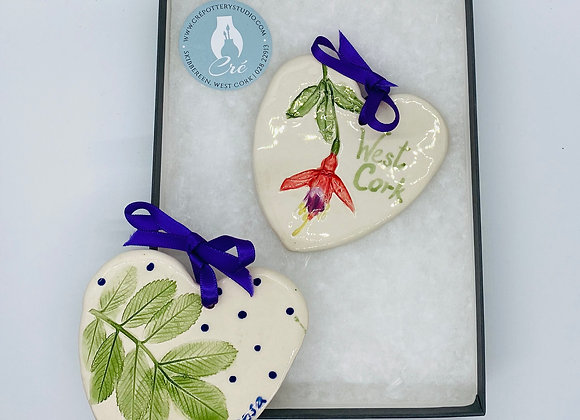 Flower Impressed Heart Decorations