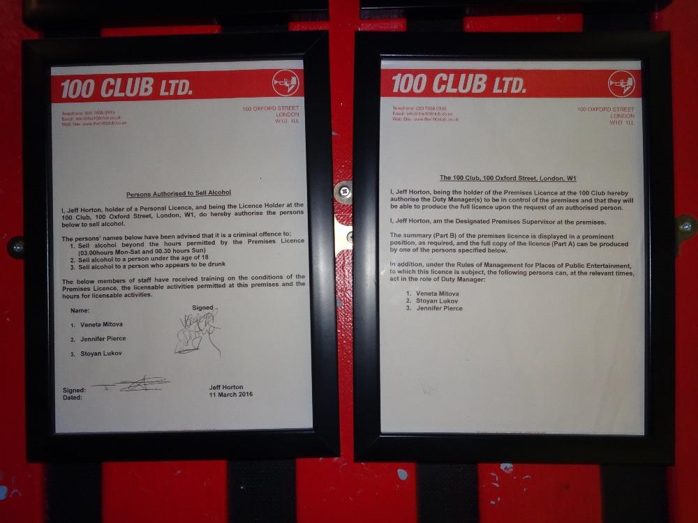 100 Club Premises Licence