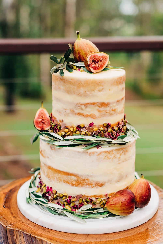 Melissa Walker Horn naked wedding cake figs orange